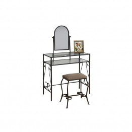 Monarch 2 Piece Metal Vanity Set in Brown