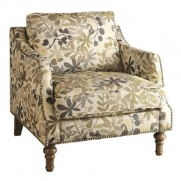 Coaster Upholstered Accent Chair in Leaf Pattern