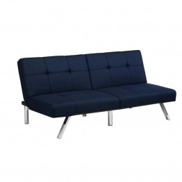 DHP Layton Linen Convertible Sofa in Navy Blue