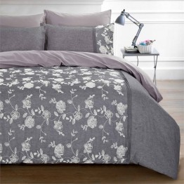 Versailles Rosali 5 Piece King Duvet Cover Set in Grey