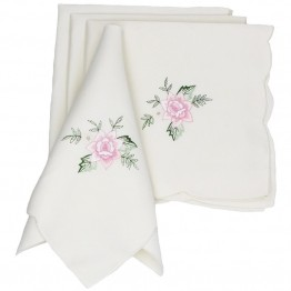 "Xia Home Fashions Bloom 21"""" x 21"""" Floral Napkin (Set of 4)"