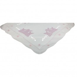 "Xia Home Fashions Bunny Bottoms 34"""" x 34"""" Easter Table Topper"