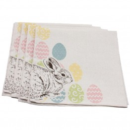 "Xia Home Fashions Bunny Eggs 20"""" x 20"""" Easter Napkin (Set of 4)"