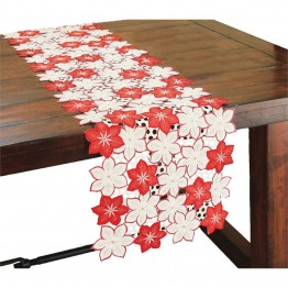 "Xia Home Fashions Candy Cane Poinsettia 15"""" x 54"""" Table Runner"