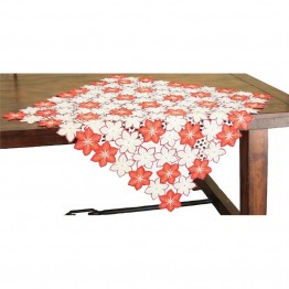 "Xia Home Fashions Candy Cane Poinsettia 36"""" x 36"""" Table Topper"