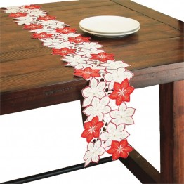 "Xia Home Fashions Candy Cane Poinsettia 8"""" x 62"""" Mini Table Runner"