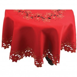 "Xia Home Fashions Festive Poinsettia 70"""" Round Tablecloth"