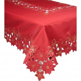 "Xia Home Fashions Festive Poinsettia 70"""" x 120"""" Tablecloth"