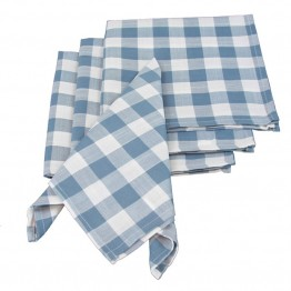 "Xia Home Fashions Gingham Check 20"""" x 20"""" Napkin in Blue (Set of 4)"