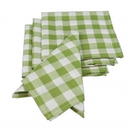 "Xia Home Fashions Gingham Check 20"""" x 20"""" Napkin in Green (Set of 4)"