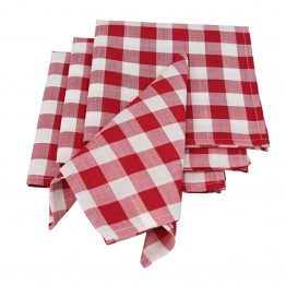 "Xia Home Fashions Gingham Check 20"""" x 20"""" Napkin in Red (Set of 4)"