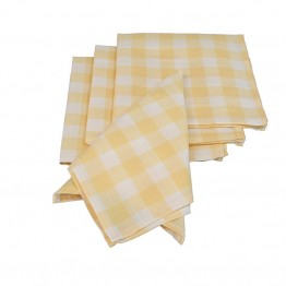 "Xia Home Fashions Gingham Check 20"""" x 20"""" Napkin in Yellow (Set of 4)"