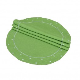 "Xia Home Fashions Polka Dot 16"""" Round Placemat in Green (Set of 4)"