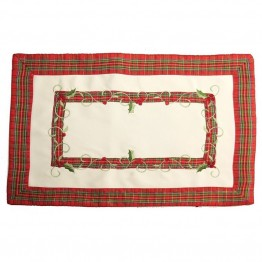 Xia Home Fashions Tartan Ribbon Placemat in White (Set of 4)