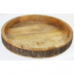 "Xia Home Fashions Villa 16"""" Round Rustic Serving Tray in Brown"