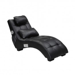 Coaster Upholstered Chaise Lounge with Pillow and Bluetooth in Black