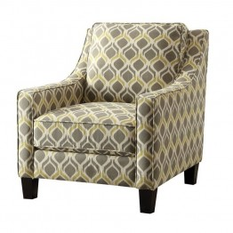 Coaster Upholstered Accent Chair in Gray and Yellow