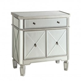 Coaster Mirror Accent Chest with Wine Rack in Silver