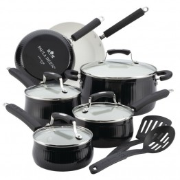 Paula Deen Aluminum Savannah 12 Piece Nonstick Cookware Set in Black