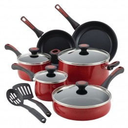Paula Deen Riverbend Aluminum 12 Piece Nonstick Cookware Set in Red