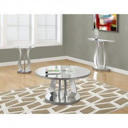 Monarch 3 Piece Mirrored Coffee Table Set in Brushed Silver