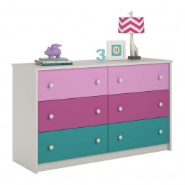 Ameriwood Home Kaleidoscope 6 Drawer Kids Dresser in Whimsy