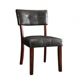 Coaster Beaux Faux Leather Dining Chair in Dark Brown