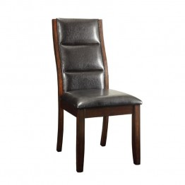 Coaster Lacombe Faux Leather Dining Chair in Black and Cappuccino