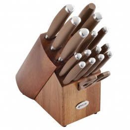 Anolon SureGrip Cutlery 17 Piece Stainless Steel Cutlery Set in Bronze