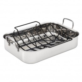 Anolon Tri-Ply Clad Nonstick Roasting Pan in Stainless Steel