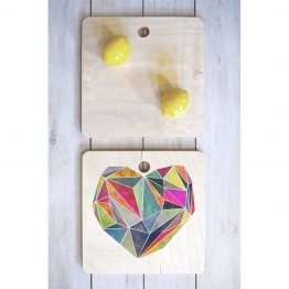 Deny Designs Mareike Boehmer Heart Graphic 5 X Square Cutting Board
