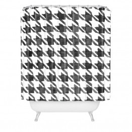 Deny Designs Social Proper Houndstooth Bw Shower Curtain