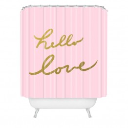 Deny Designs Lisa Argyropoulos Hello Love Pink Shower Curtain