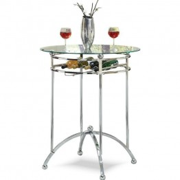 Coaster Modern Glass Top Pub Table in Chrome