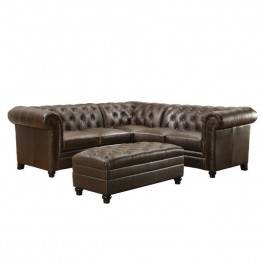 Coaster Roy Button Tufted Sectional in Dark Brown