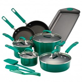 Rachael Ray Hard Enamel 14 Piece Cookware Set in Fennel Gradient