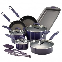 Rachael Ray Hard Enamel 14 Piece Cookware Set in Purple Gradient