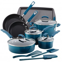 Rachael Ray Hard Enamel 14 Piece Cookware Set in Marine Blue