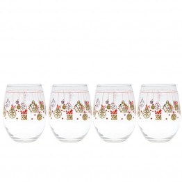 Culver Holiday 15 oz Stemless Wine Glass (Set of 4)