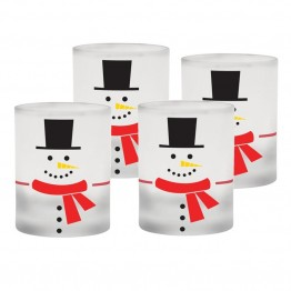 Culver Holiday 14 oz Frosted Double Old Fashion Glass (Set of 4)
