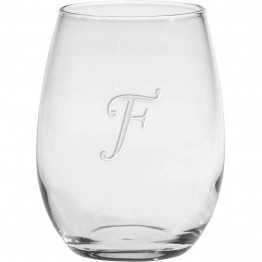 Culver Monogram 14 oz Etched Stemless Wine Glass (Set of 4)