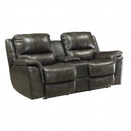 Coaster Wingfield Leather Motion Loveseat with Console in Charcoal