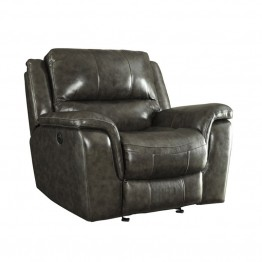 Coaster Wingfield Leather Power Recliner with USB Port in Charcoal