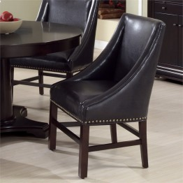 Monarch 2 Piece Leather Dining Chair in Dark Brown