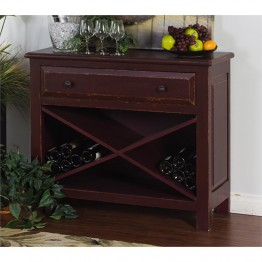 Sunny Designs Console Table with Wine Rack in Red