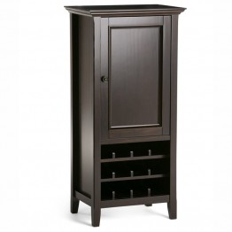 Simpli Home Amherst Wine Cabinet in Dark Brown