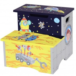 Fantasy Fields Outer Space Wooden Step Stool with Storage