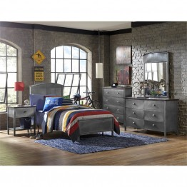 Hillsdale Urban Quarters 5 Piece Twin Panel Bedroom Set in Black Steel