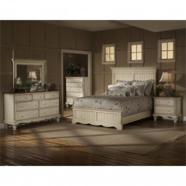 Hillsdale Wilshire 4 Piece Queen Bedroom Set in Antique White