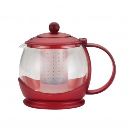 BonJour Tea Glass Teapot in Rosehip Red
